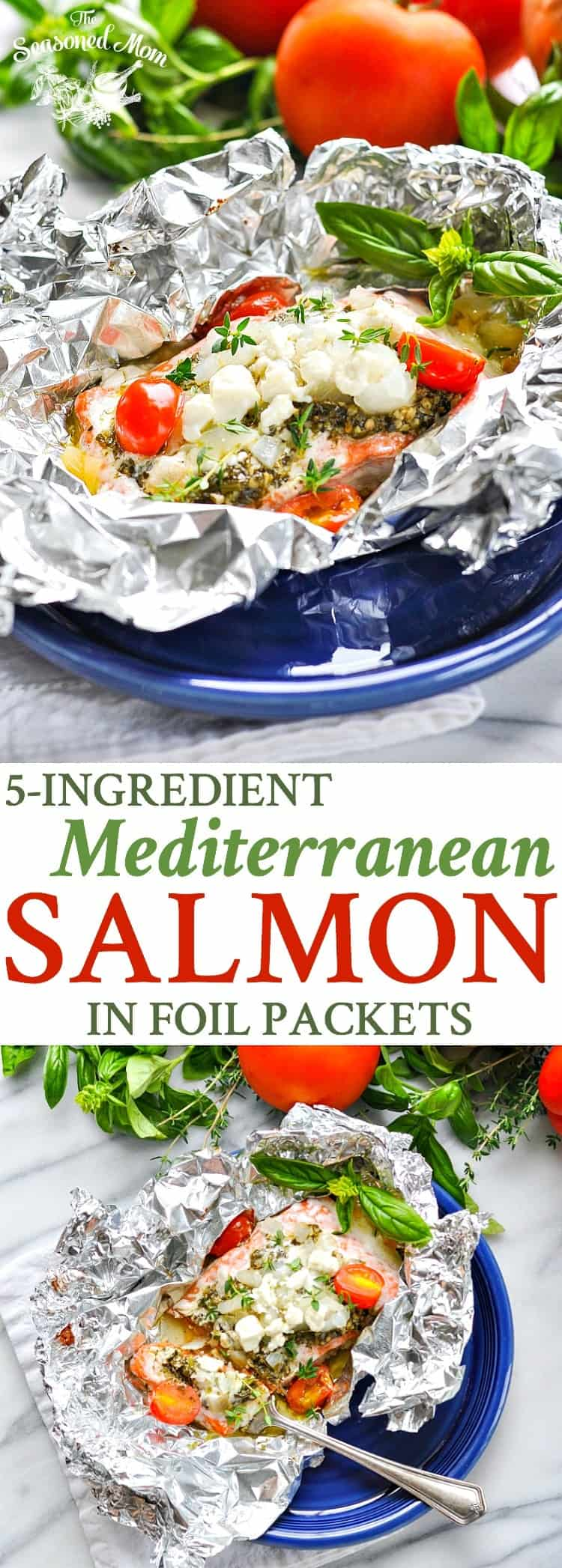 5-Ingredient Mediterranean Salmon in Foil Packets | Seafood Recipes | Easy Dinner Recipes | Dinner Ideas | Healthy 5 Ingredient or Less Recipes | Healthy Recipes | Salmon Recipes Baked | Camping Food | Camping Meals