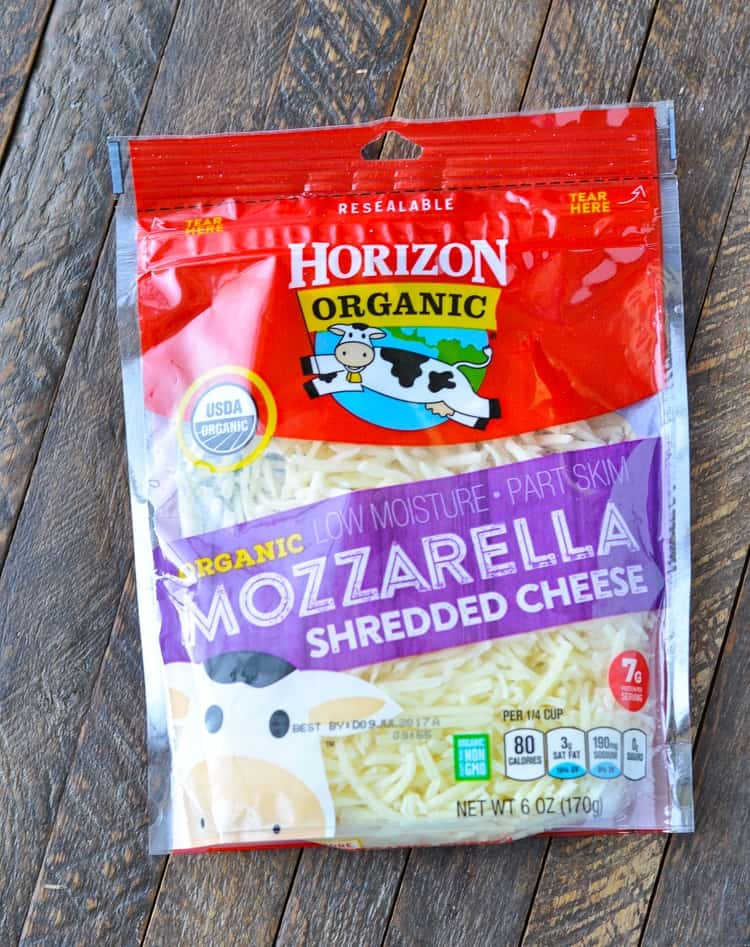 A product shot of grated mozzarella cheese by Horizon