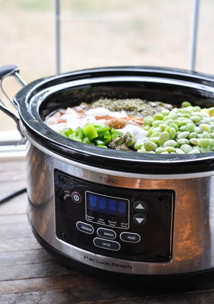 A side shot of a slow cooker with a Brunswich stew inside