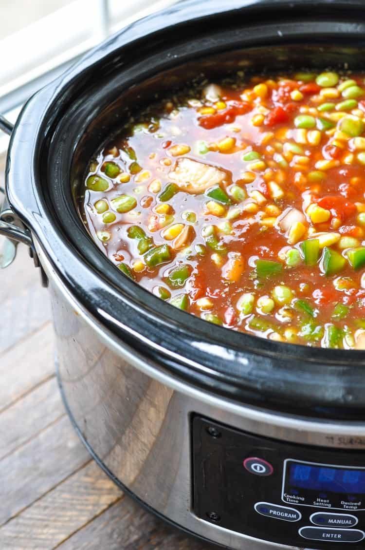 A side shot of a Brunswich stew in a slow cooker