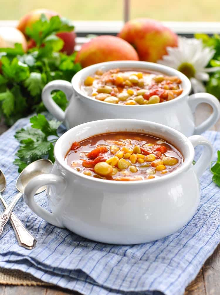 Two bowls of slow cooker Brunswick stew sitting on a blue tablecloth with a spoon