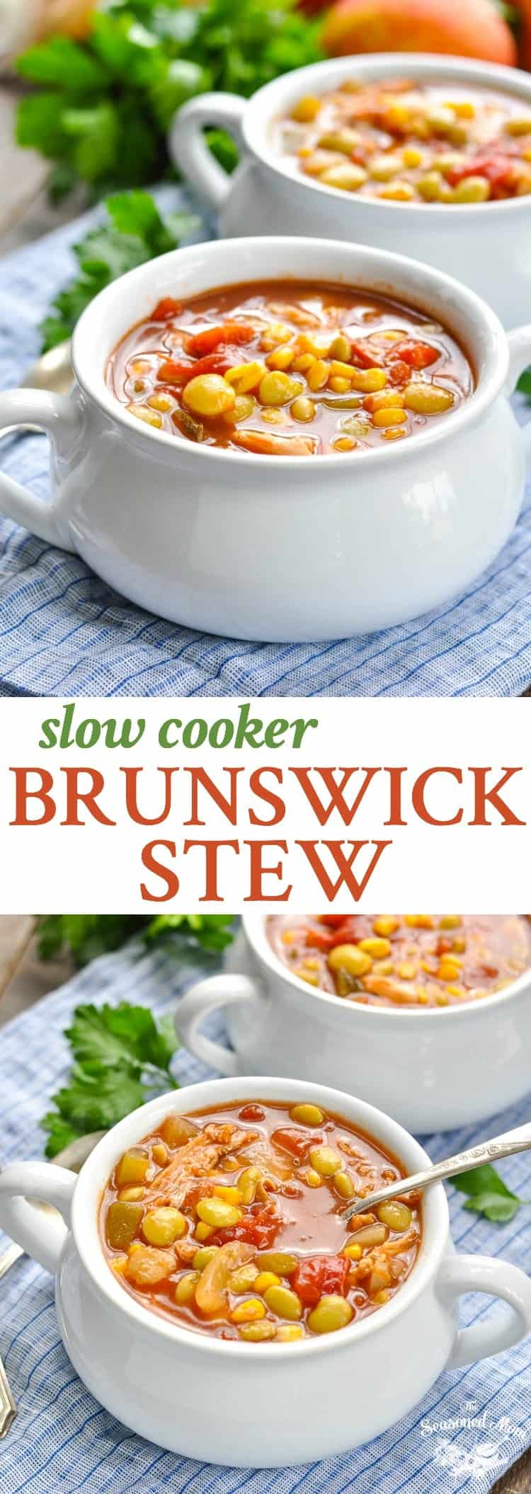 Slow Cooker Brunswick Stew is a healthy dinner recipe that's perfect for busy nights! Slow Cooker Chicken Breast Recipes | Pork Tenderloin Recipes | Easy Dinner Ideas