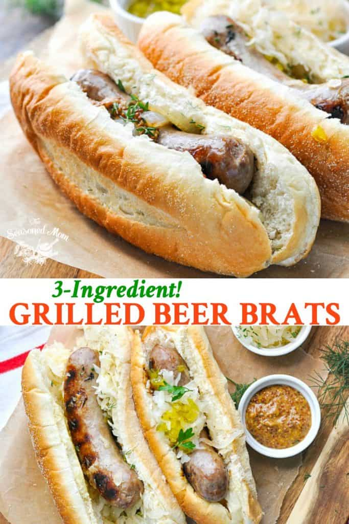 Long collage of 3 Ingredient Grilled Beer Brats