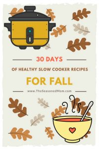 Long collage image of healthy slow cooker recipes for fall