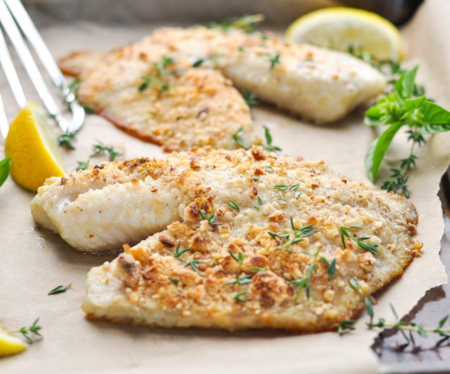 5 ingredient almond crusted baked tilapia the seasoned mom for Tilapia fish recipes
