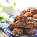 Plate of Amish no bake chocolate and peanut butter oat cookies