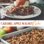 Long collage image of caramel apple walnut cake recipe