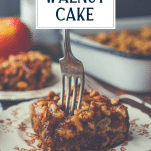 Fork in a slice of easy caramel apple cake with text title overlay