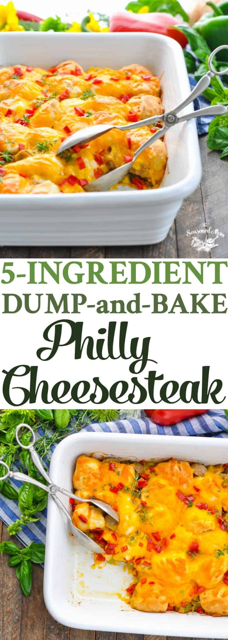 This 5-Ingredient Dump-and-Bake Philly Cheesesteak is an easy dinner recipe for busy nights! One Pot Meals | Beef Recipes | Casseroles | Dinner Ideas #dinner #onedish #casserole #beef