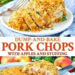 Long collage image of boneless pork chops baked with apples and stuffing