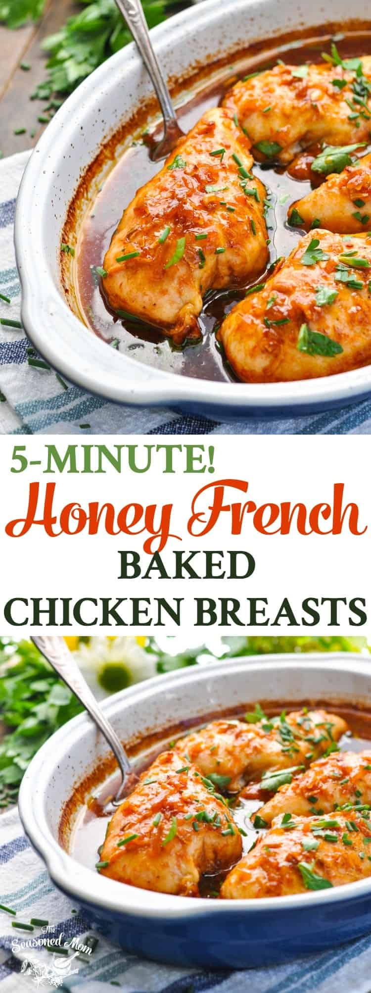 These 5-Minute Honey French Baked Chicken Breasts are an easy dinner recipe for busy weeknights! Chicken Breast Recipes | Dinner Ideas | Baked Chicken Recipes