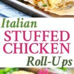 A collage image for Italian stuffed chicken