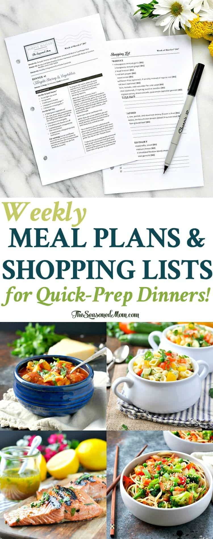 Simply Mailed Weekly Meal Plans and Shopping Lists for Quick Prep Dinners