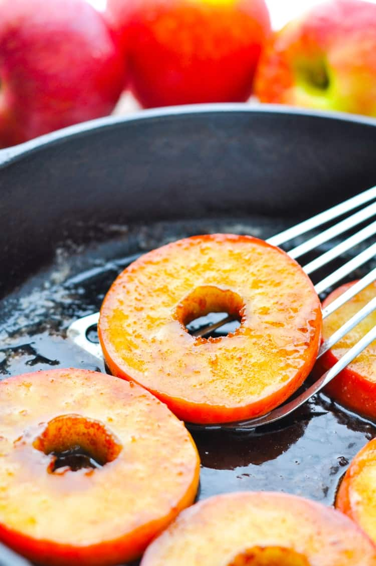 Close up of Southern Fried Apples in a skillet with a spatula