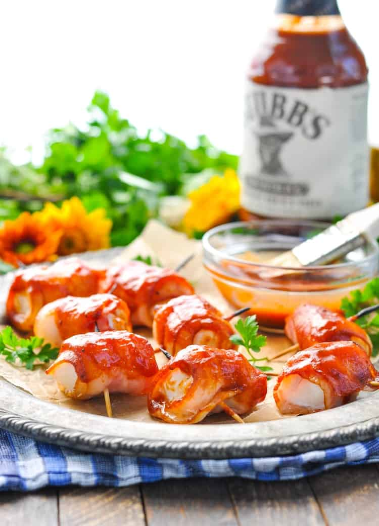3-Ingredient Bacon Wrapped Chicken Bites are an easy appetizer, a simple dinner idea, and a tasty addition to your next tailgate! Chicken Breast Recipes | Appetizers for Party | Snacks | 5 Ingredients or Less Recipes