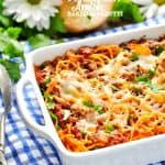 You only need 5 ingredients for this easy Amish Baked Spaghetti dinner