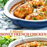 Long collage image of 5 Minute Honey French Chicken