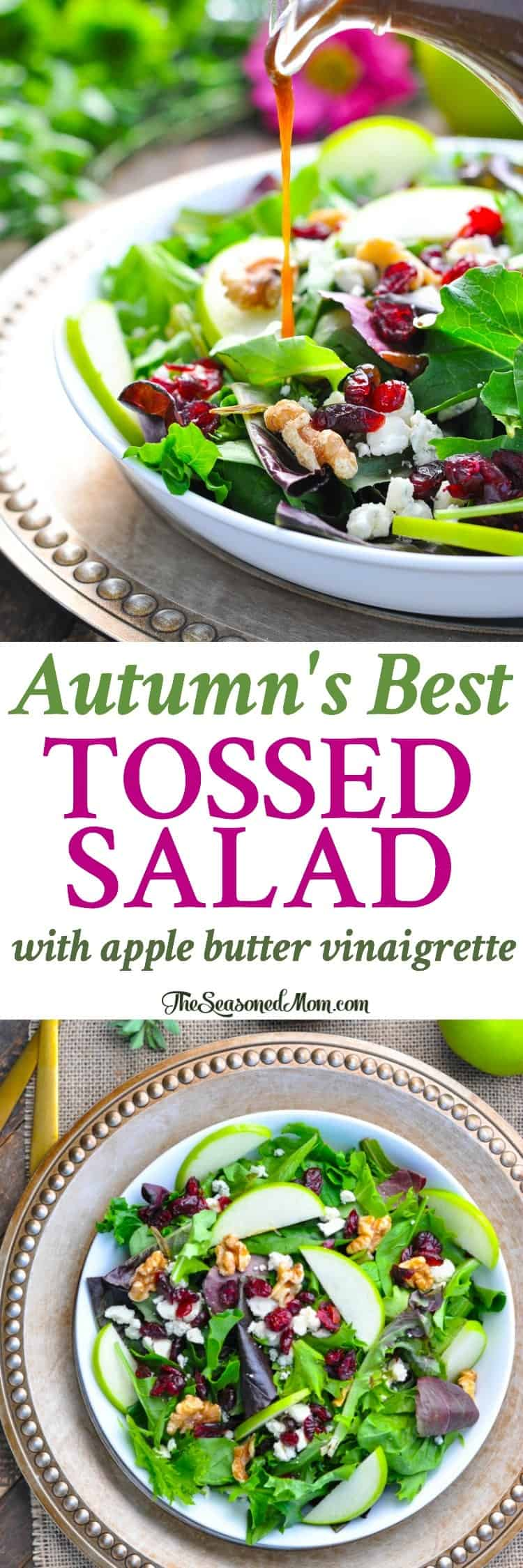 Autumn's Best Tossed Salad with Apple Butter Vinaigrette is a healthy Thanksgiving side dish or an easy weeknight dinner! Thanksgiving Party | Side Dishes | Easy Dinner Recipes | Vegetarian
