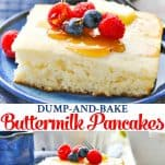 Long collage image of Easy Buttermilk Pancakes