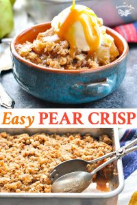Long collage image of Easy Pear Crisp recipe
