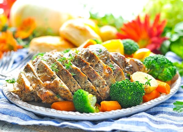 A close up of slices on slow cooker pork
