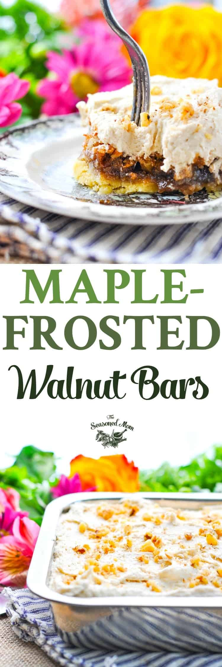 These Maple Frosted Walnut Bars are a delicious and easy dessert recipe! Thanksgiving Dessert | Fall Desserts | Desserts for Parties