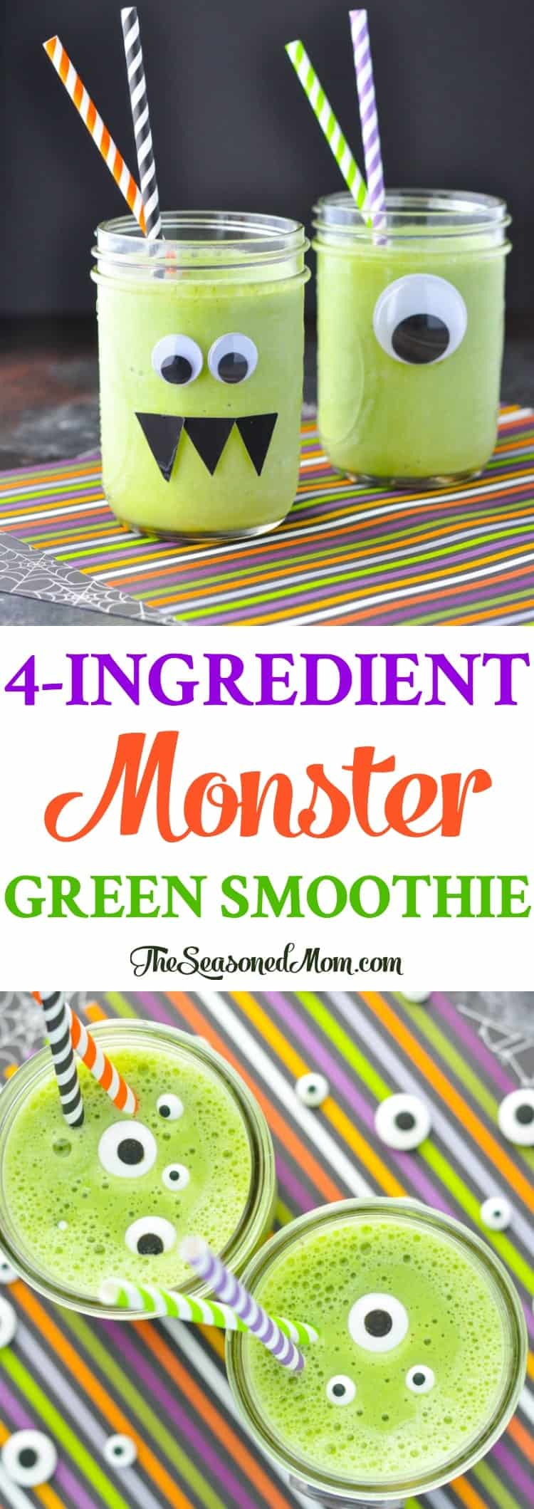 A 4-Ingredient Monster Green Smoothie is a healthy breakfast for Halloween morning! Healthy Recipes | Smoothie Recipes | Halloween Food | Halloween Party