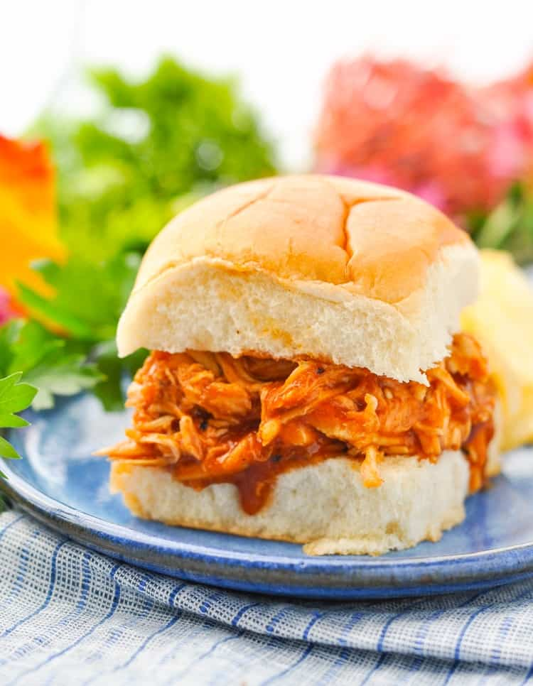 This Slow Cooker Pulled Barbecue Chicken is an easy dinner recipe and a great Crock Pot Freezer Meal! Chicken Breast Recipes | Slow Cooker Chicken | Healthy Dinner Recipes | Dinner Ideas