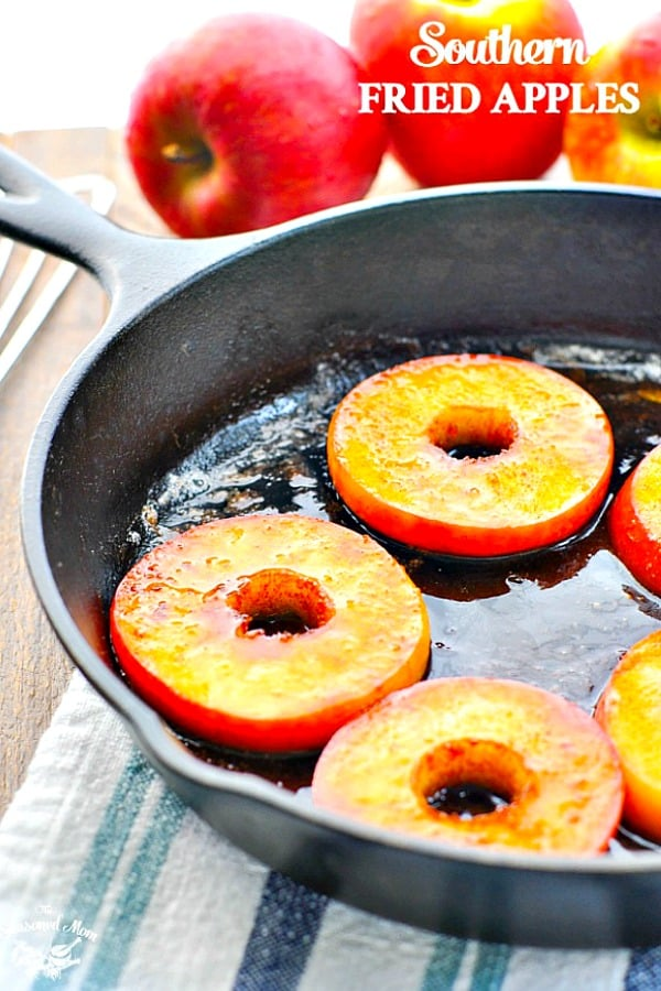 Cast iron skillet with Southern Fried Apples