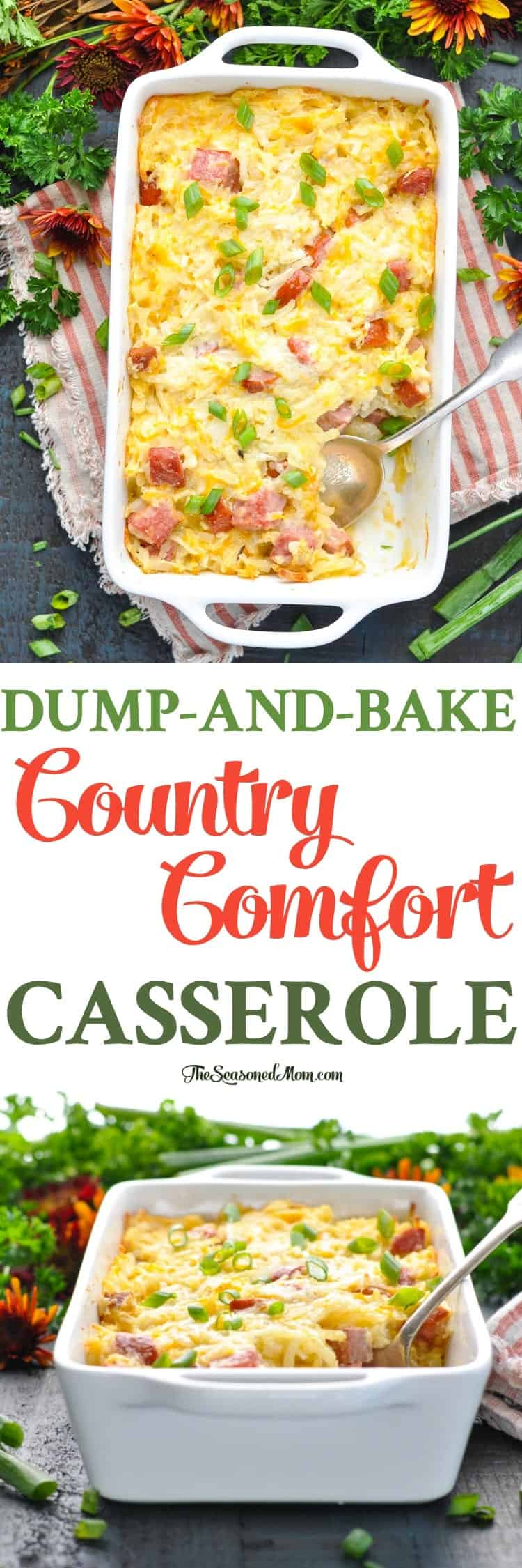 Loaded with hash brown potatoes, cheese, and sausage, this Dump-and-Bake Country Comfort Casserole is a hearty one dish meal that doesn't require any prep work! Easy Dinner Recipes | Sausage Recipes | Hash Brown Casserole #dinner #casserole