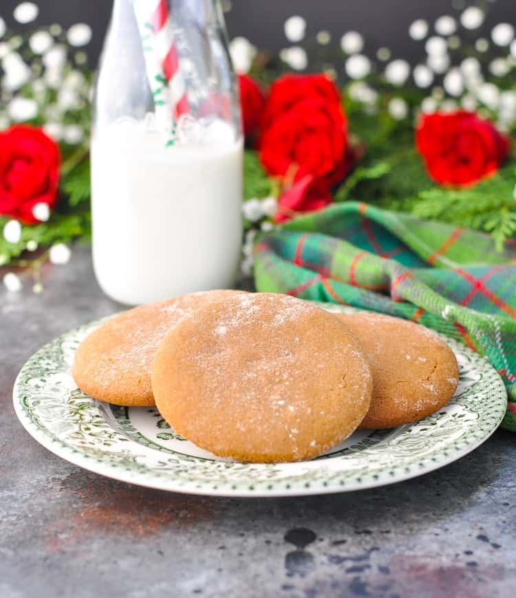 Classic gingerbread Christmas cookies on a plate