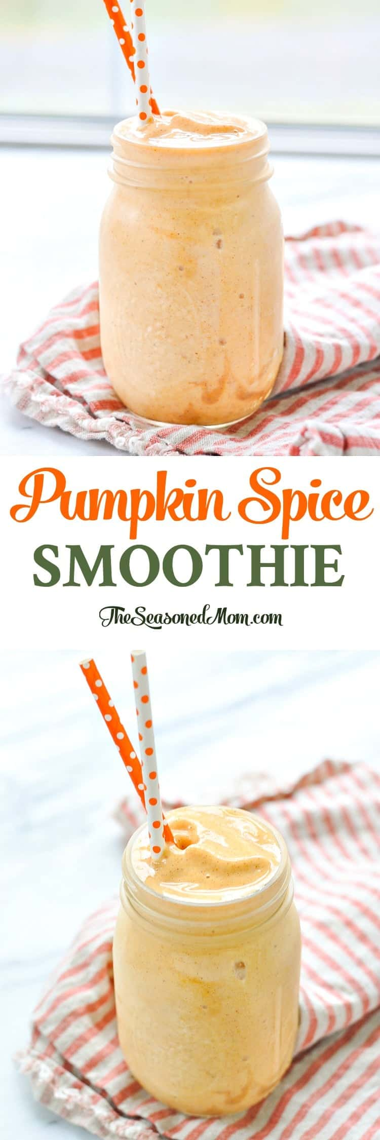 A 2-minute PUMPKIN SPICE SMOOTHIE is a healthy breakfast or snack that's full of protein! Smoothie Recipes | Pumpkin Recipes | Healthy Breakfast Recipes #smoothie #pumpkin #breakfast #snack