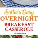 A collage image of an easy breakfast casserole and text in the middle