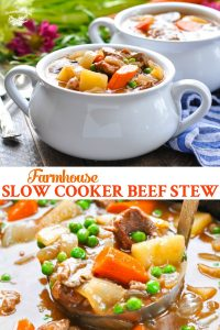 Long collage image of Slow Cooker Beef Stew