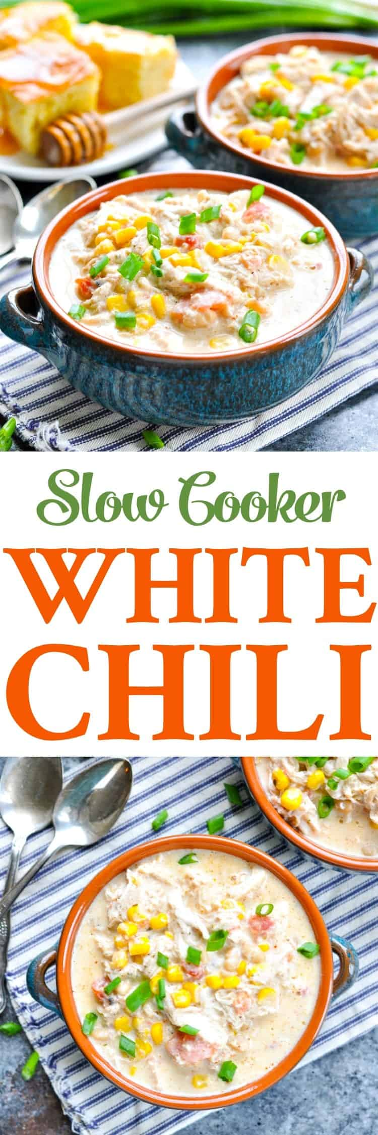 This is the easiest and the best Slow Cooker White Chili that you will ever make! Chicken Breast Recipes | Slow Cooker Recipes | Slow Cooker Chicken #dinner #chili #slowcooker #chicken