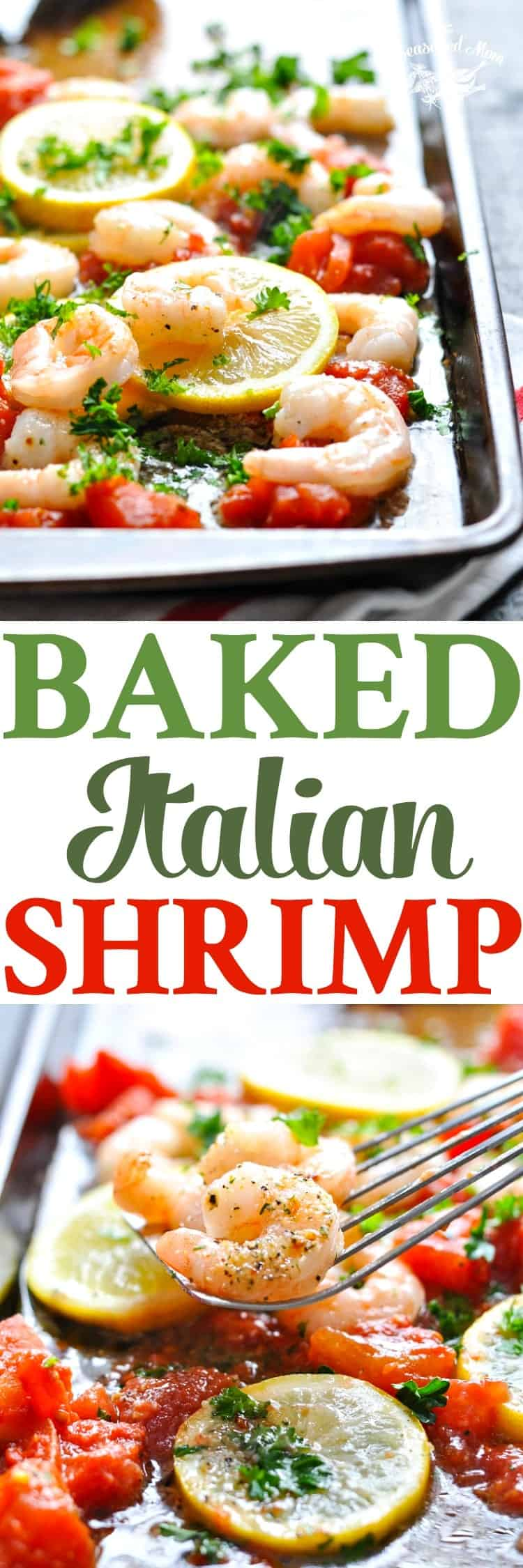 This Baked Italian Shrimp is an easy dinner that's ready in just 20 minutes! Seafood | Shrimp Recipes | Dinner Ideas #seafood #shrimp #dinner