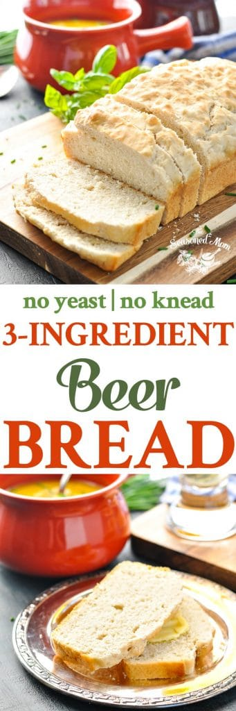 A collage image of beer bread