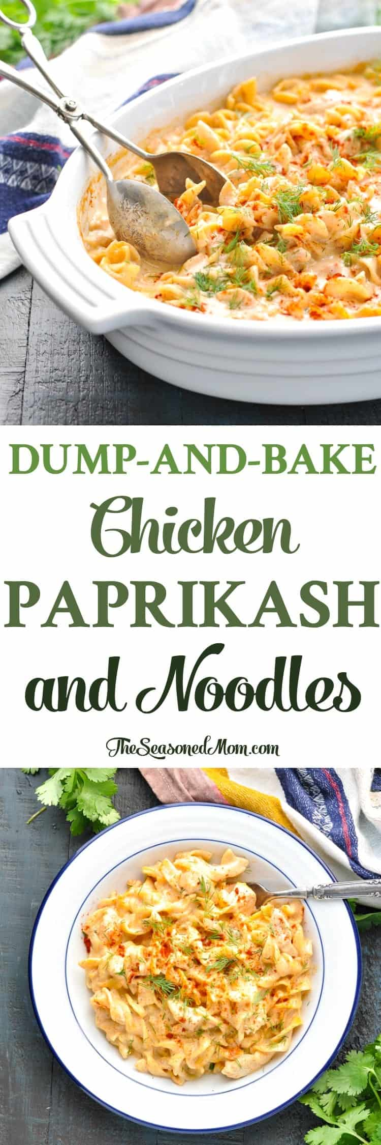 This Dump-and-Bake Chicken Paprikash and Noodles is an entire dinner that cooks in one dish! Chicken Recipes | Chicken Breast Recipes | Easy Dinner Recipes | Dinner Ideas #pasta #chicken #dinner