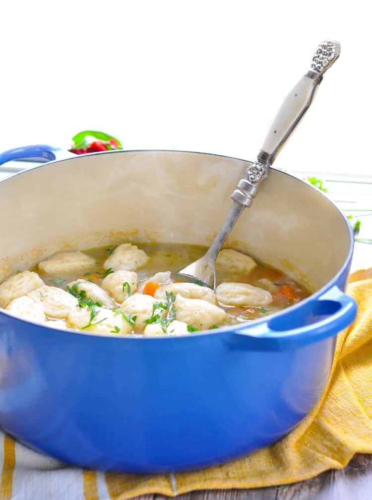 Dump-and-Bake Chicken and Dumplings is a cozy one pot meal! Easy Dinner Recipes | Chicken Breast Recipes | Slow Cooker Recipes #slowcooker #chicken #dinner #Southern