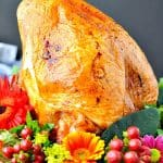 Garlic and Herb Roasted Turkey Breast with text overlay
