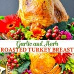 Long collage image of roasted turkey breast