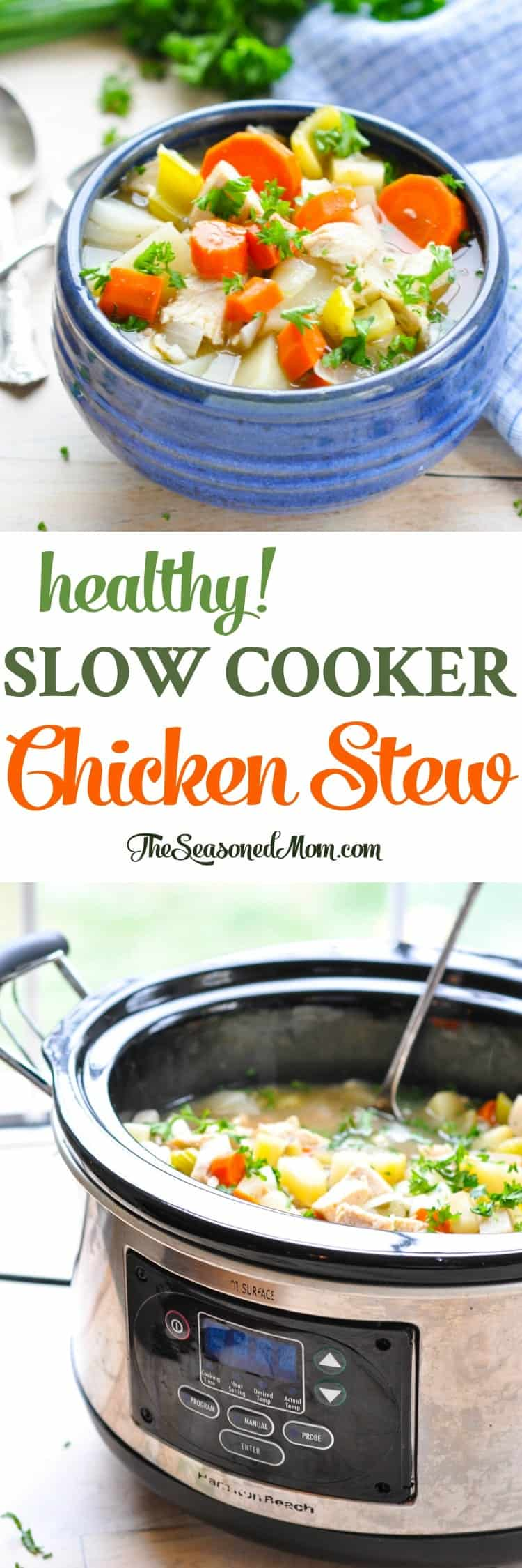 This Healthy Slow Cooker Chicken Stew is an easy dinner recipe that's also low calorie and high in protein to help you feel nourished and well! Chicken Breast Recipes | Slow Cooker Recipes | Slow Cooker Chicken | Healthy Dinner Recipes #healthy #slowcooker #chicken #dinner