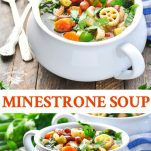 Long collage image of Minestrone Soup recipe