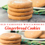 Long collage image of Old Fashioned Williamsburg Gingerbread Cookies