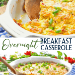 Long collage image of overnight breakfast casserole