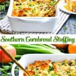 Long collage of Southern Cornbread Stuffing