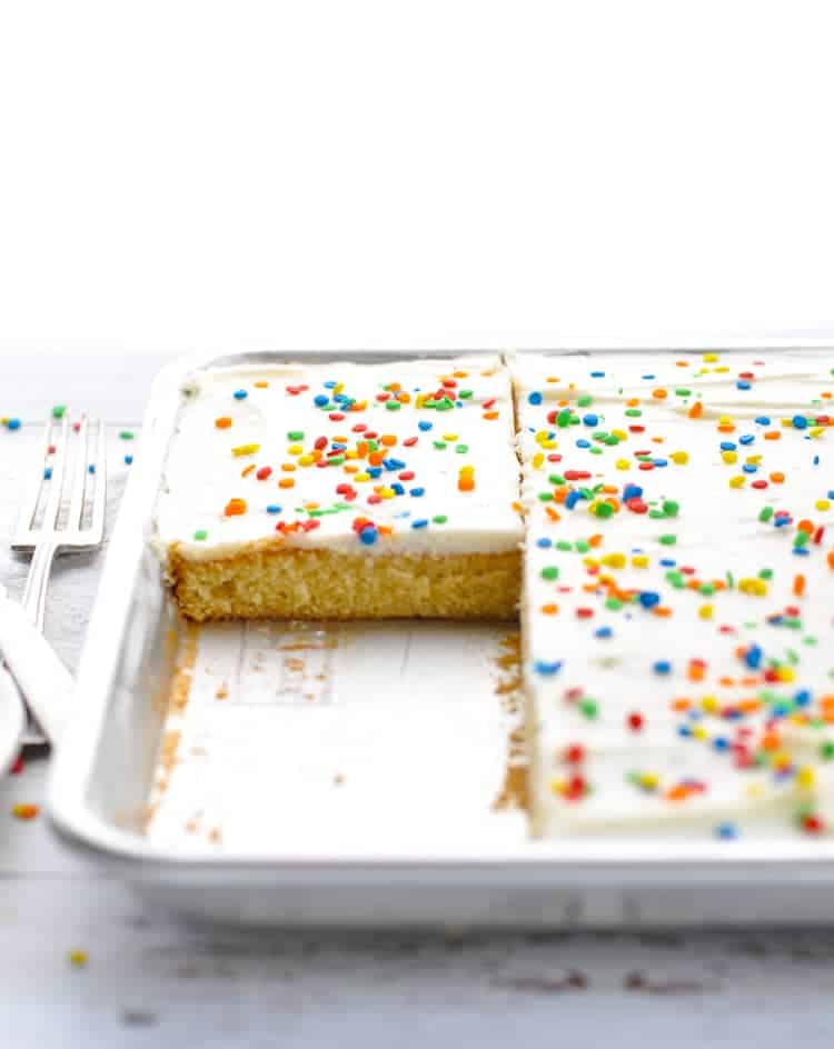 This White Texas Sheet Cake is a family tradition and it's THE BEST homemade cake recipe that you will ever taste! Easy Dessert Recipes | Cake from Scratch | Easy Cake Recipes #birthday #cake #dessert