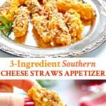 Long collage image of southern cheese straws appetizer