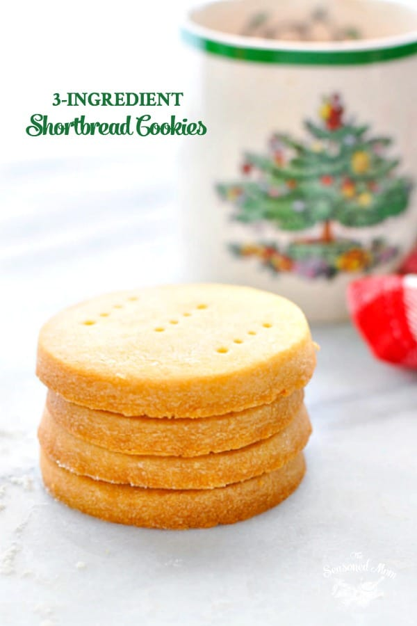 Stack of 3 ingredient scottish shortbread cookies with text overlay
