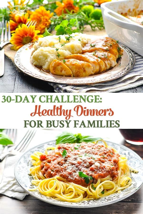 Collage of healthy dinner ideas for busy families